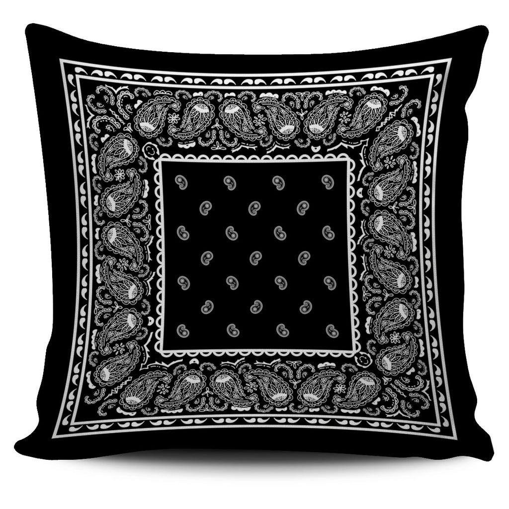 black bandana throw pillow