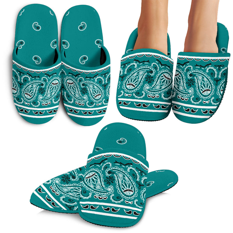 Teal Bandana Slippers