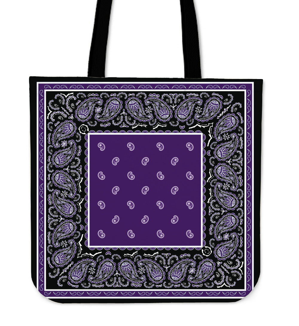 purple and black bandana tote bag