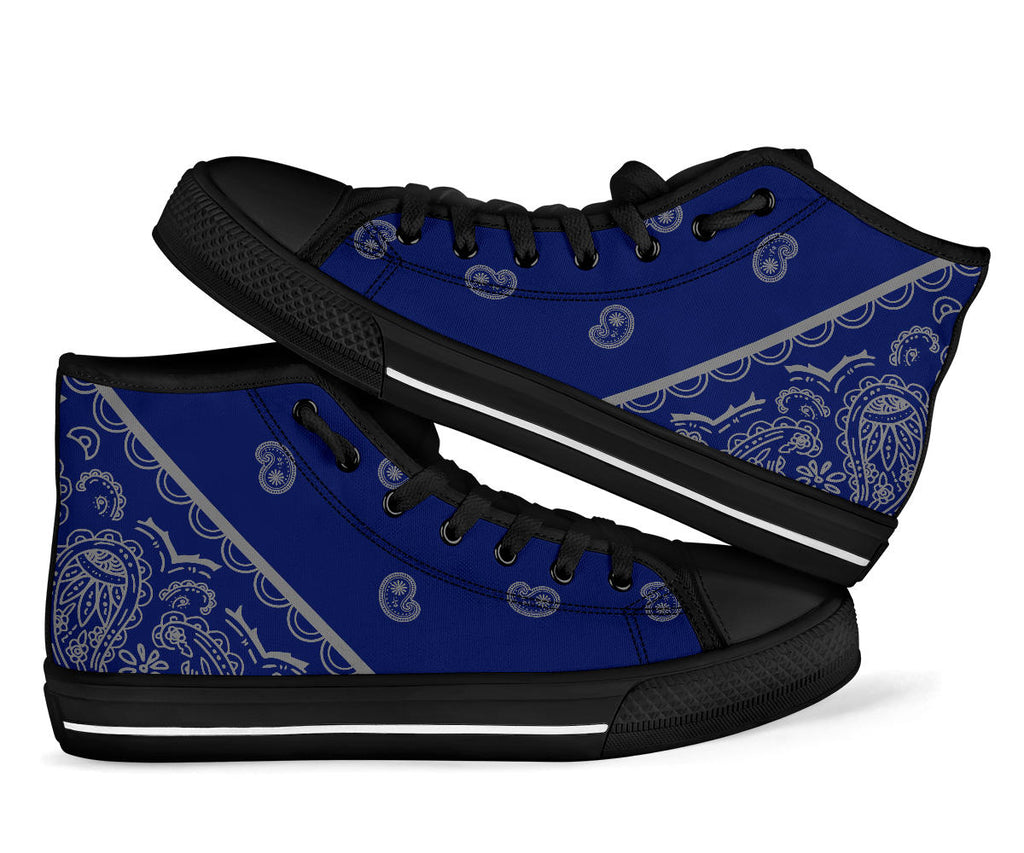 blue and gray bandana sneakers