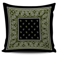Army Green and Black Bandana Throw Pillow Covers - 2 Styles