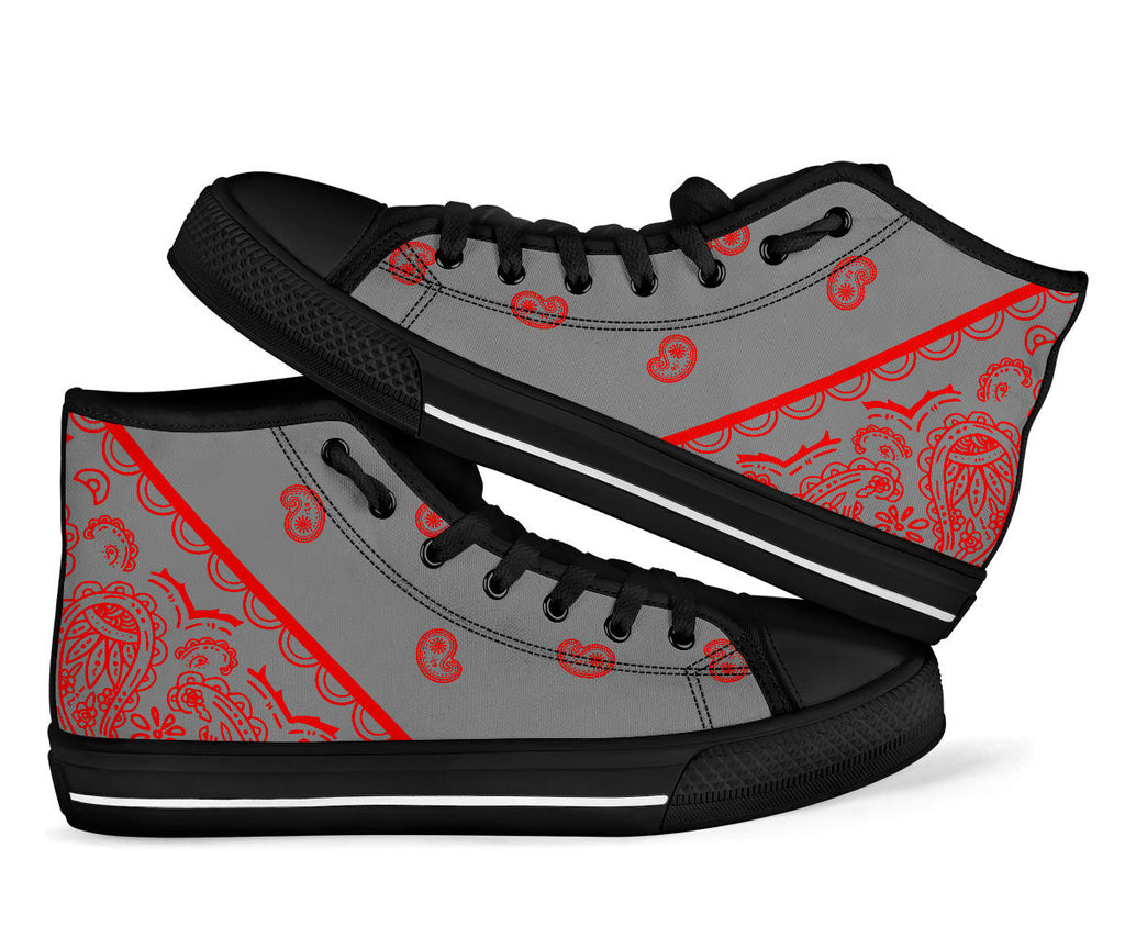 gray and red bandana high tops