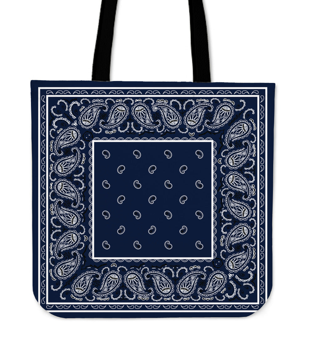navy blue bandana tote bag