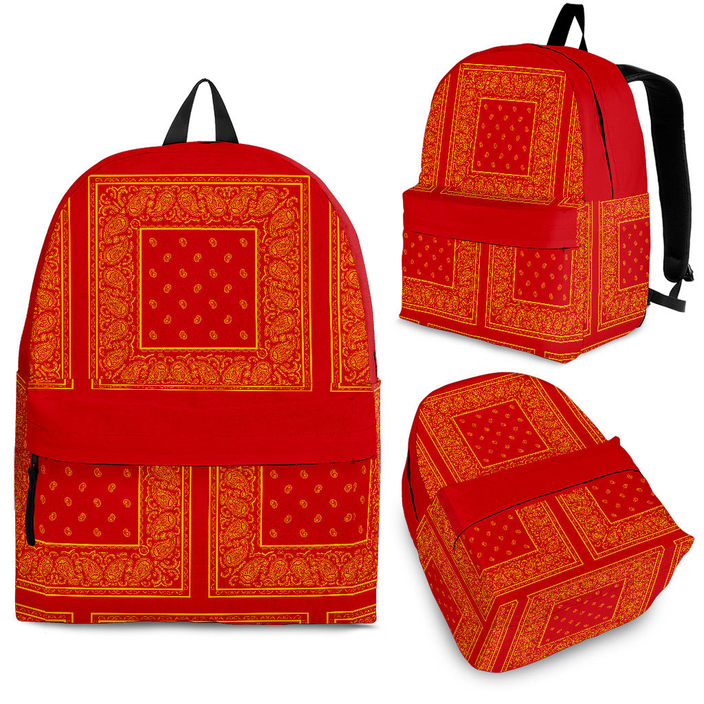 red backpack with bandana pattern