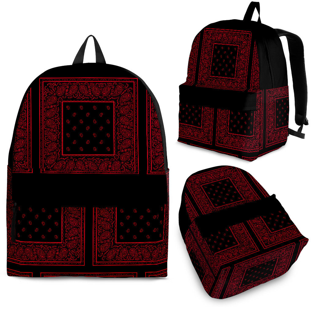 Black Bandana Backpack with Patch Pattern