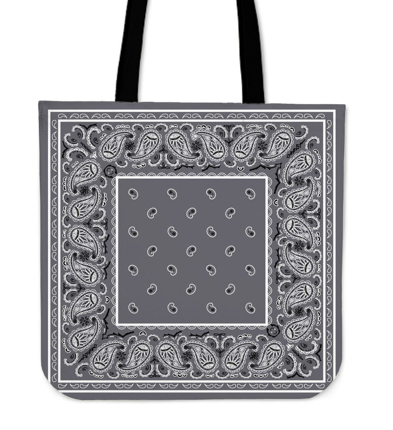 gray bandana tote bag