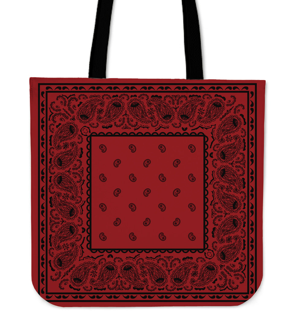red and black bandana print tote bag