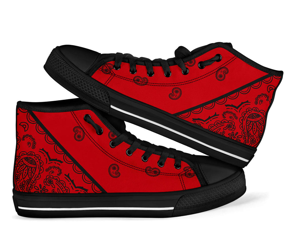 red and black bandana high tops