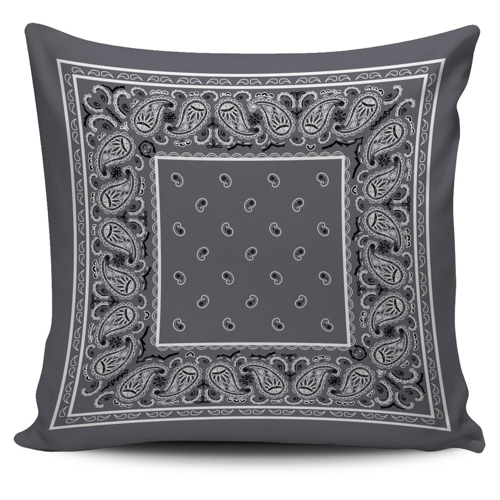 gray bandana throw pillow