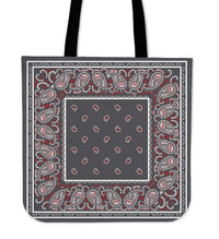 gray and red bandana tote