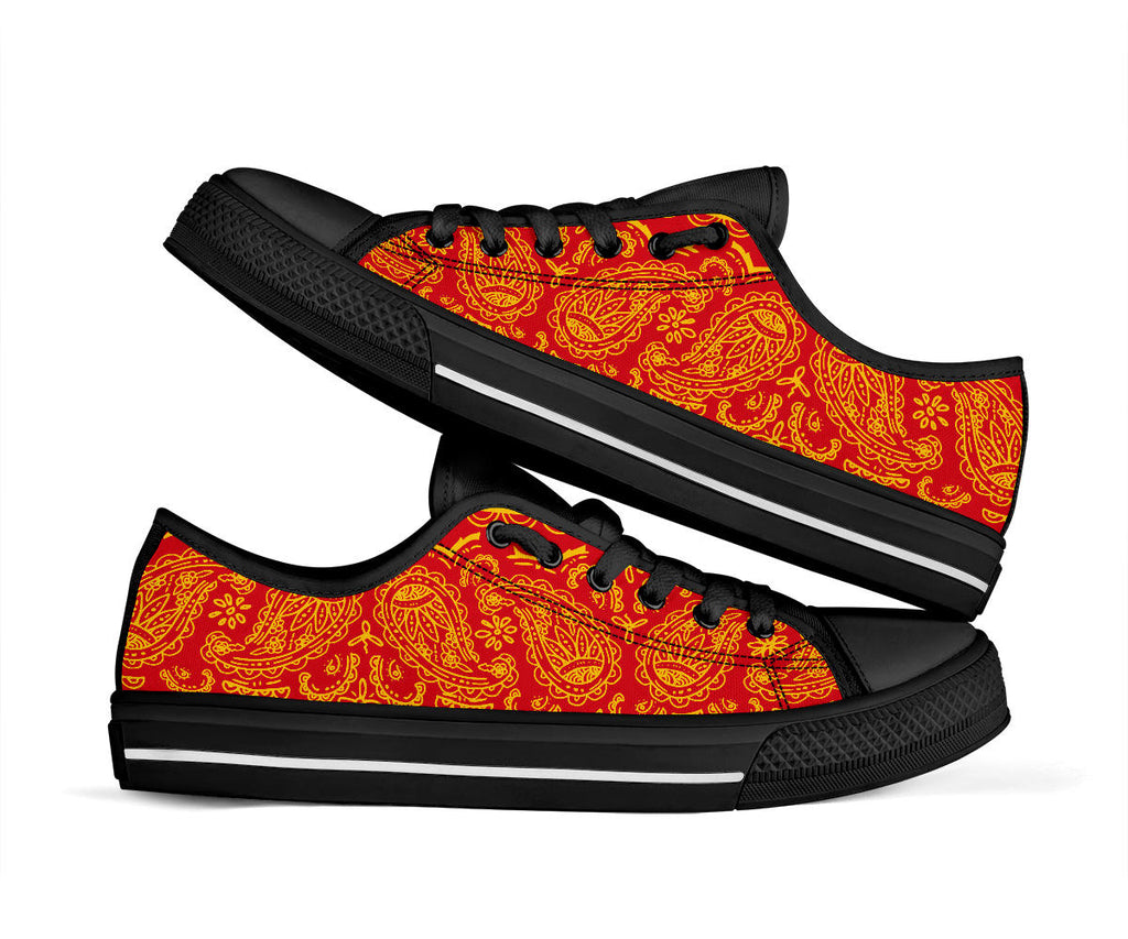 red and gold bandana team sneakers