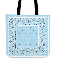 light blue bandana tote bag