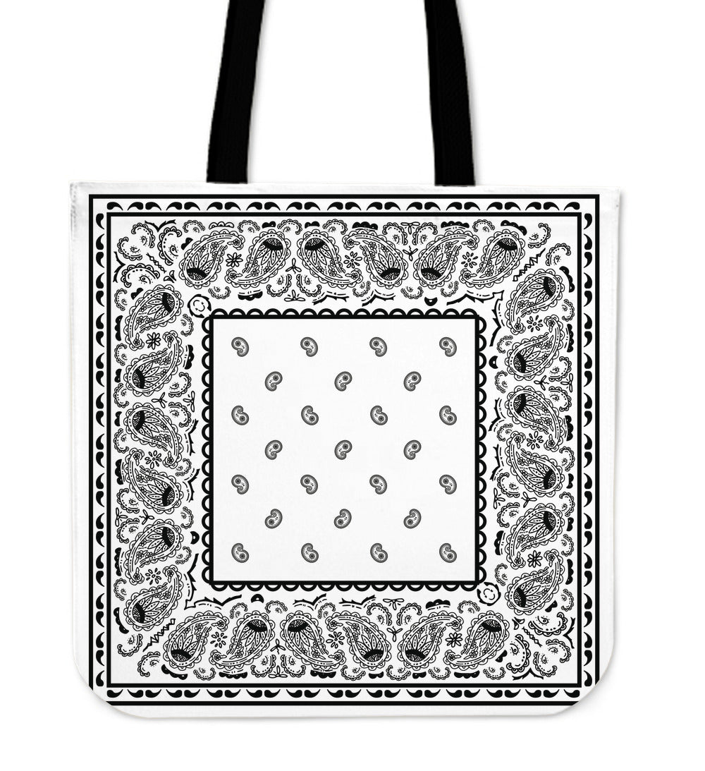 white bandana tote bag