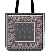 gray red and black bandana tote bag
