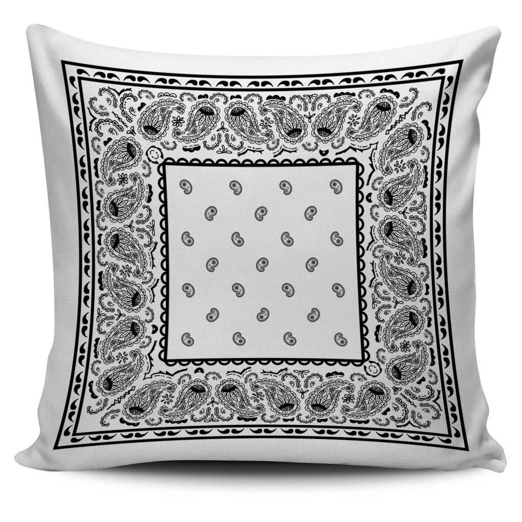 white bandana accent pillow