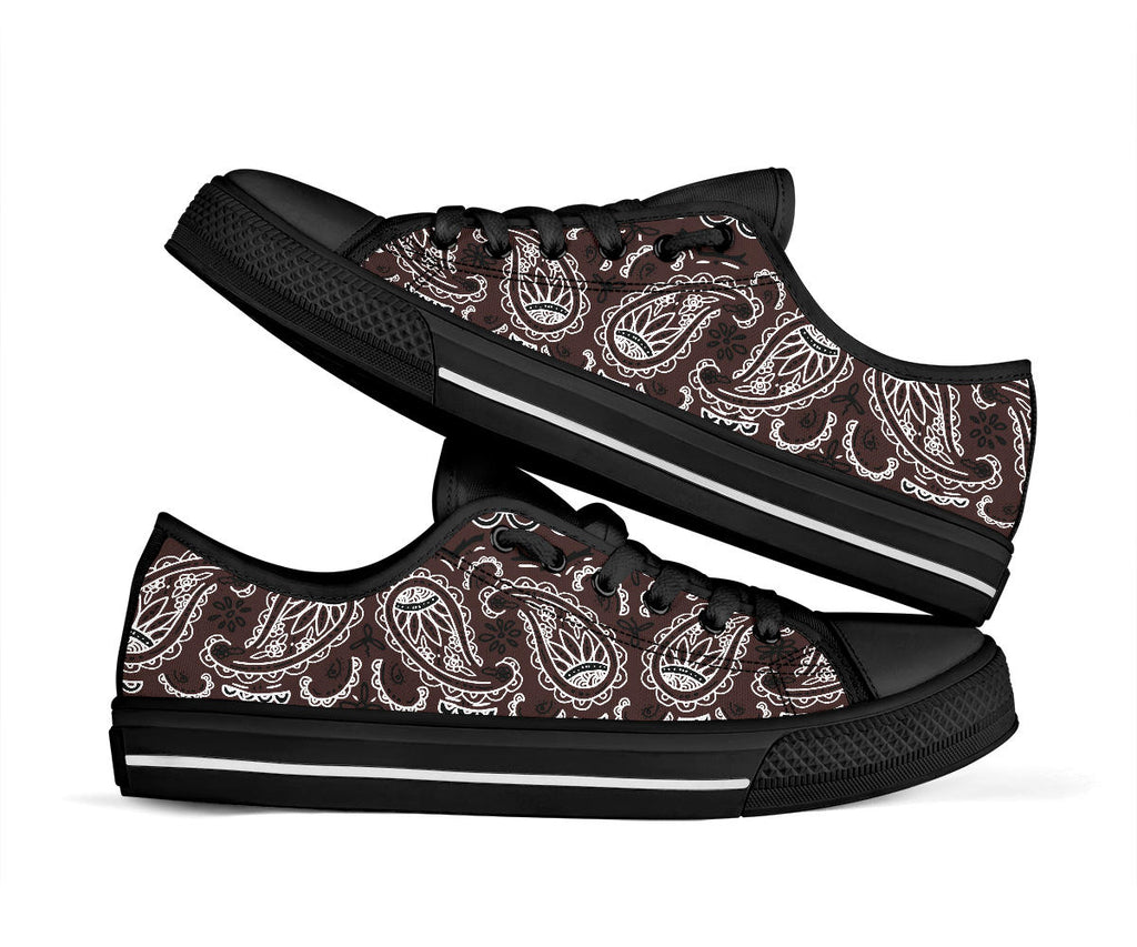 Coffee Brown Bandana Low Top Sneakers