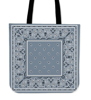 slate blue bandana tote bag