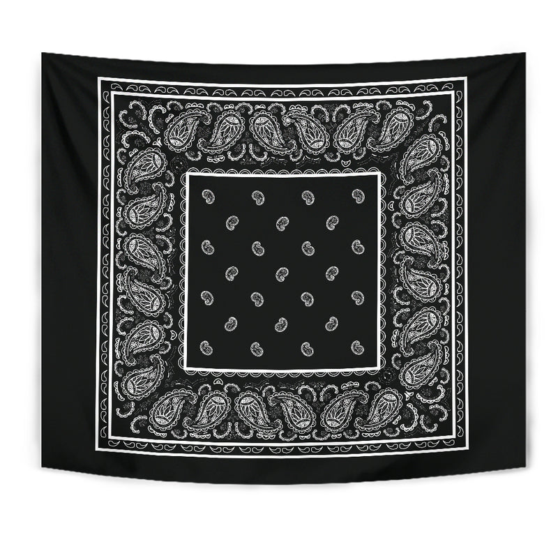 Black Bandana Wall Art Tapestries