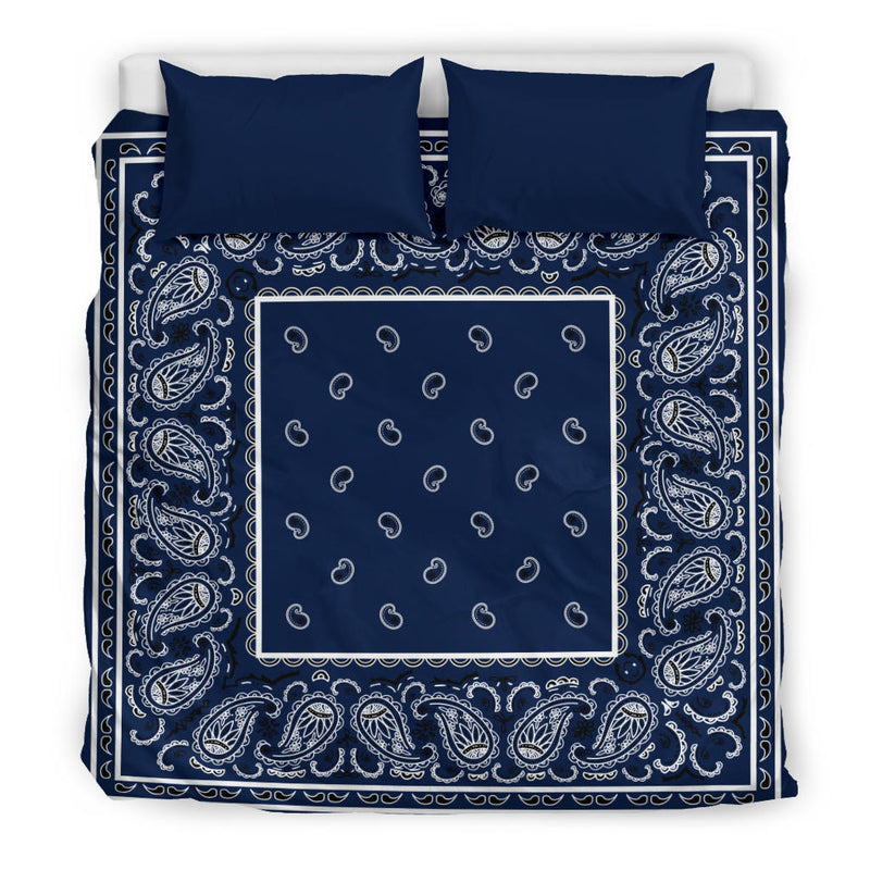 King Size Navy Blue Bandana Duvet Cover Set