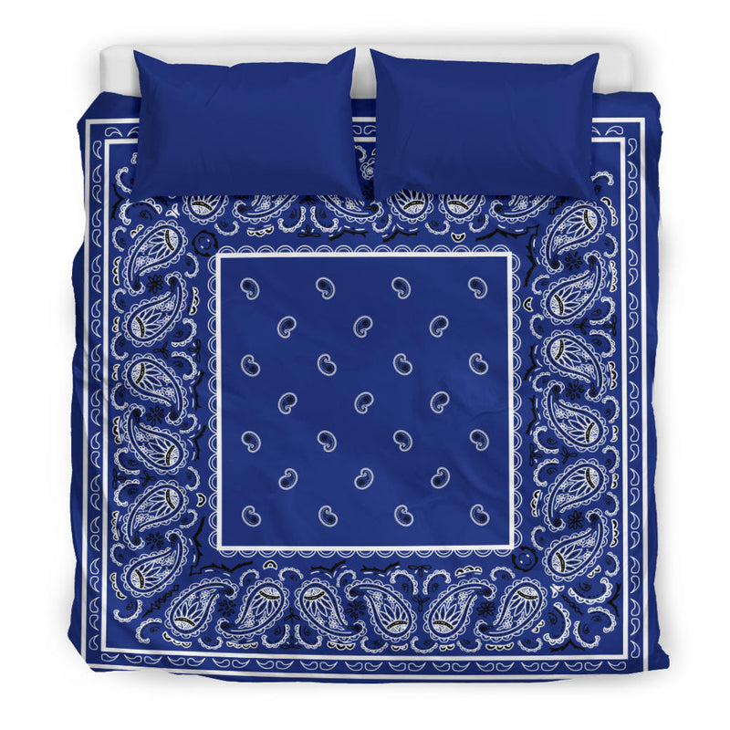 King Royal Blue Bandana Duvet Cover Set