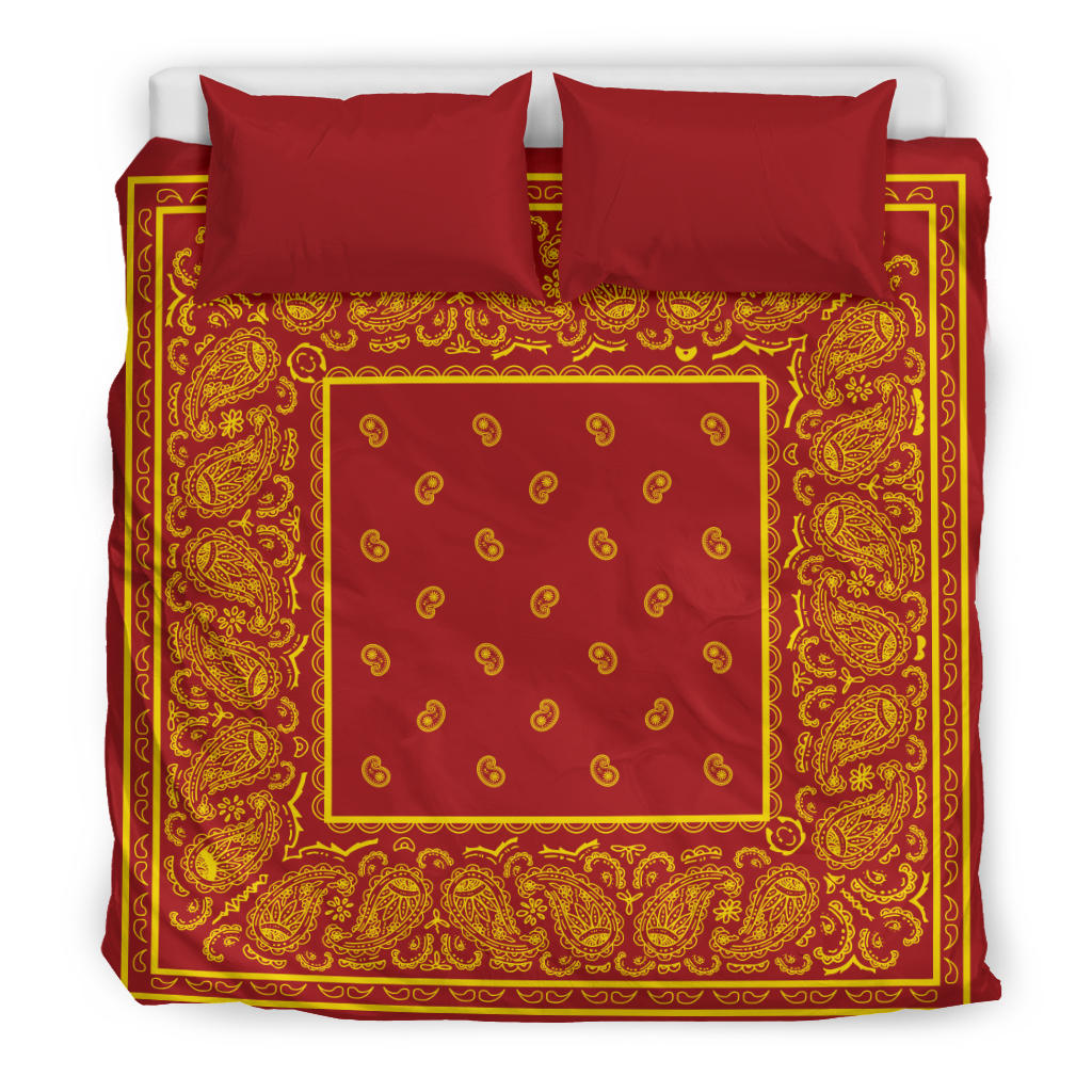 king size Red and Gold Bandana Duvet Cover Set