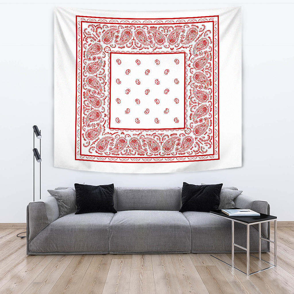 white with red bandana wall tapestry