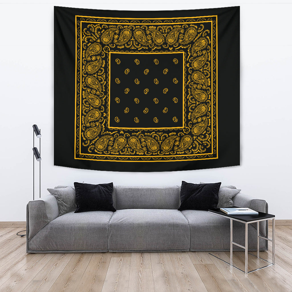 black and gold bandana wall art