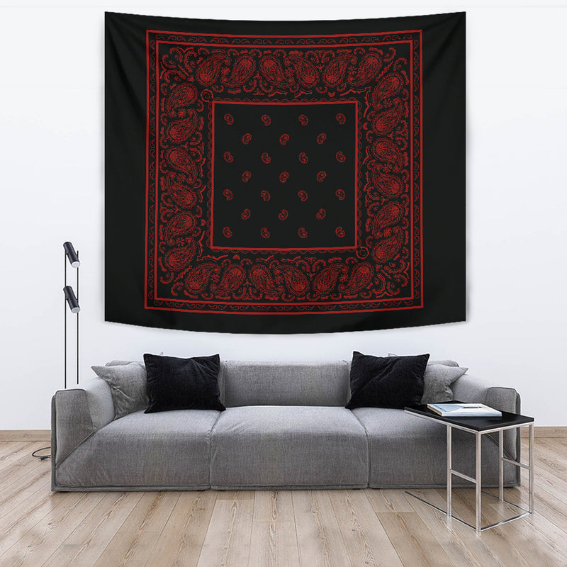 black and red tapestry