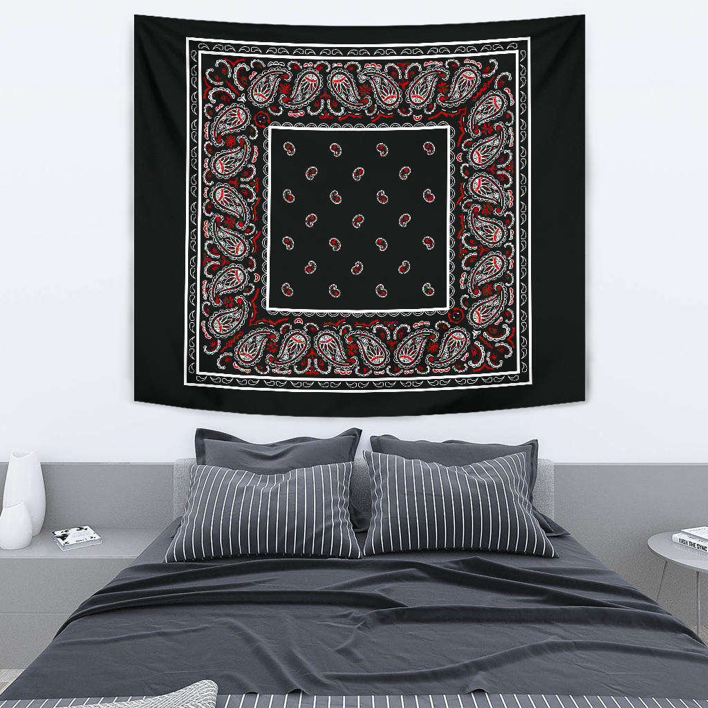 wicked black bandana tapestry