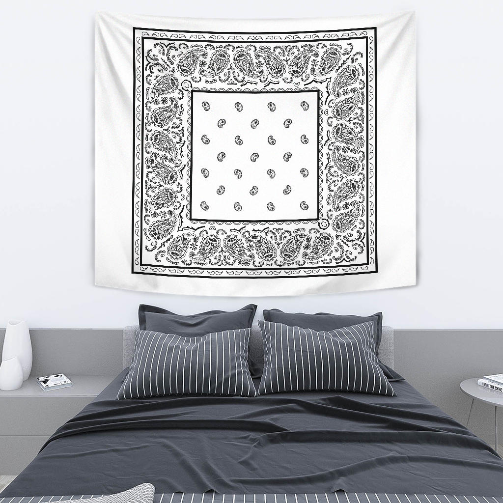 white and black bandana tapestry