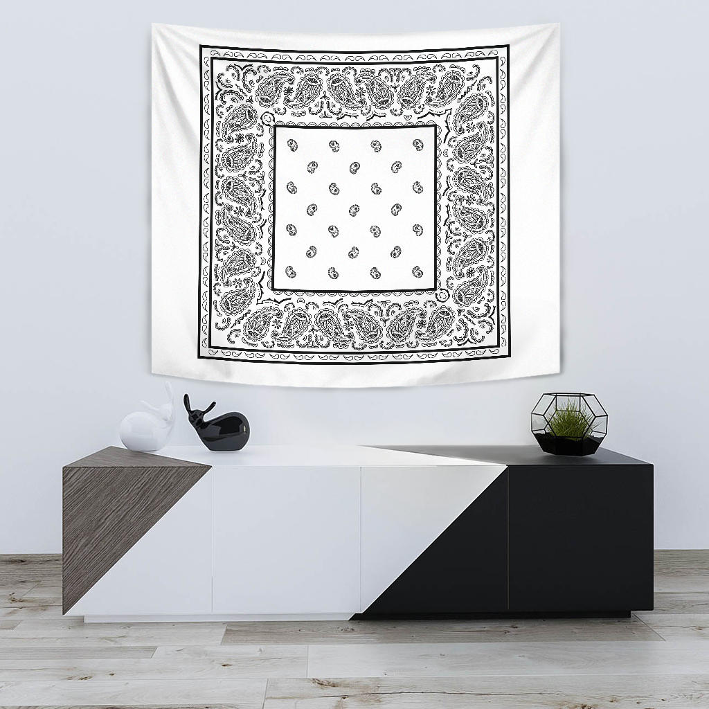 white bandana wall tapestry with black