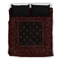 Queen Black and Red Bandana Duvet Cover Set