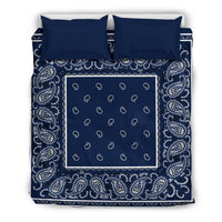 King Navy Blue Bandana Duvet Cover Set