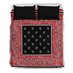 Queen Red and Black Duvet Cover