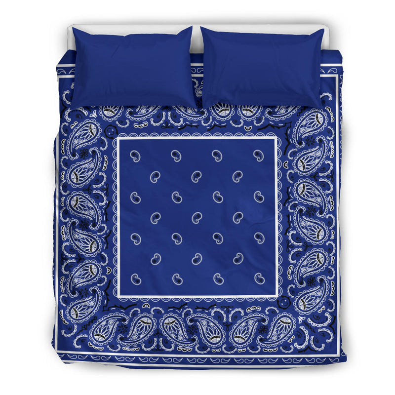 Queen Royal Blue Bandana Duvet Cover Set