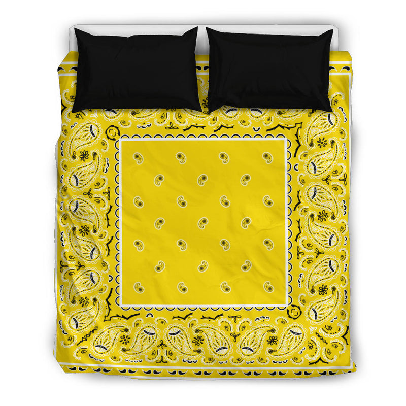 Queen Yellow Bandana Duvet Cover Set