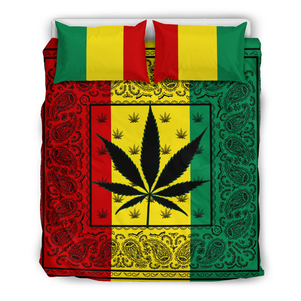 Rasta Pot Leaf Bandana Duvet Cover Sets