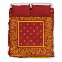 Queen size Red and Gold Bandana Duvet Cover Set