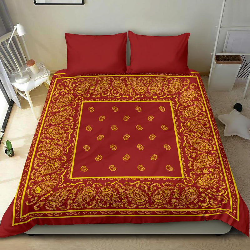 Red and Gold Bandana Duvet Cover Set