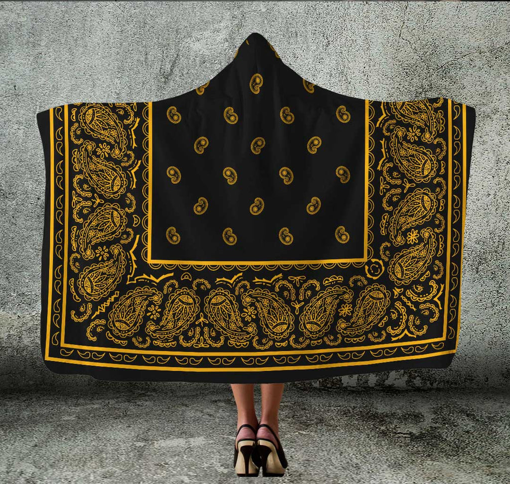 Black Gold Bandana Hooded Blanket