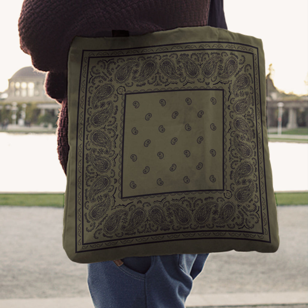 green bandana tote bag