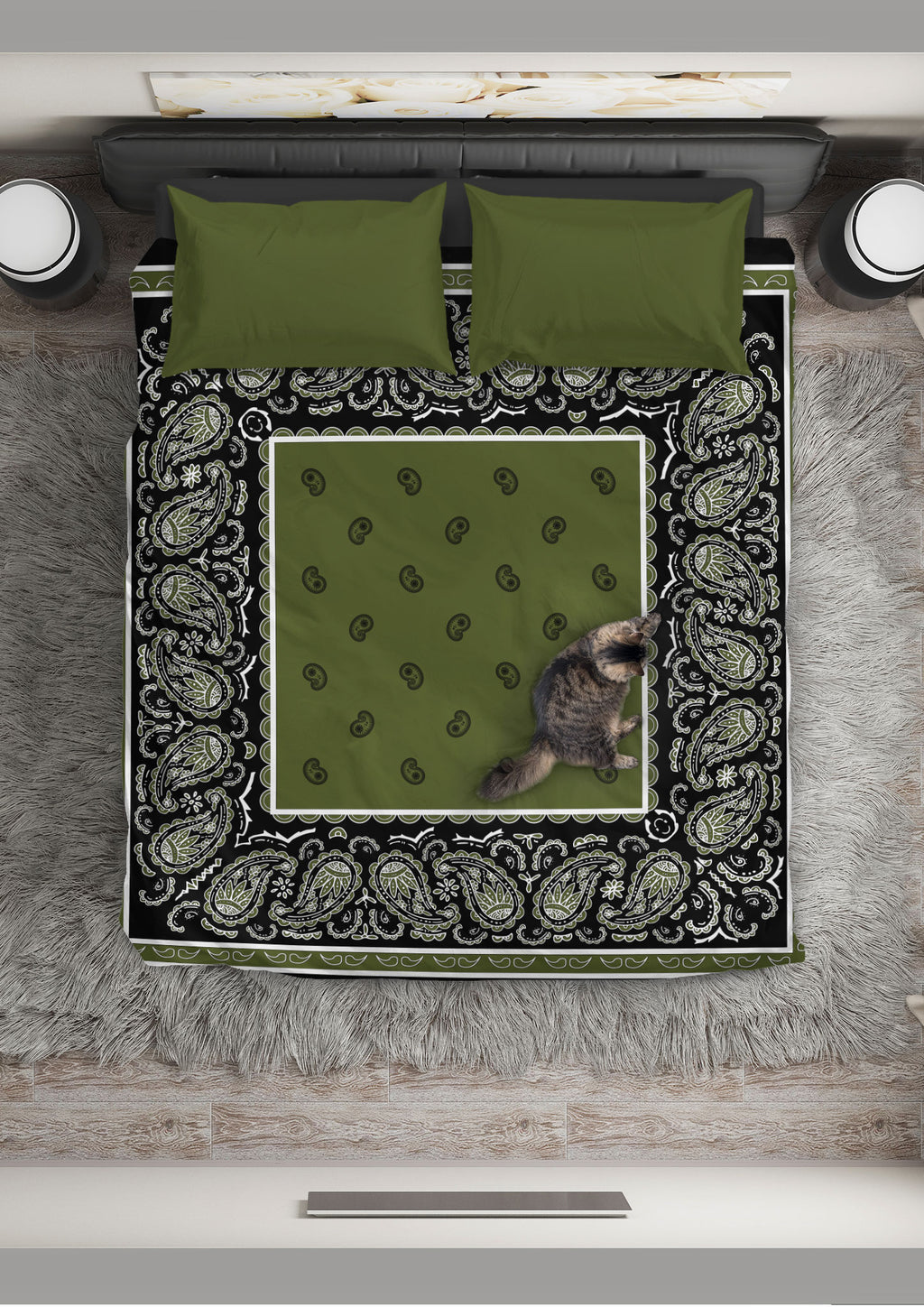 Green and Black Bandana Duvet Cover Set