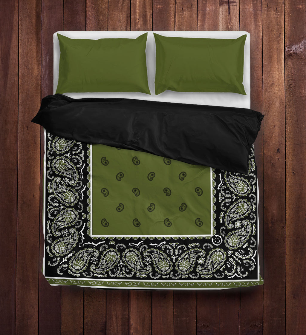 Green and Black Bandana Duvet Cover Sets