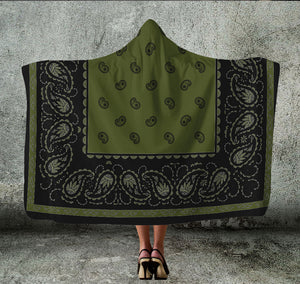army green hooded blanket