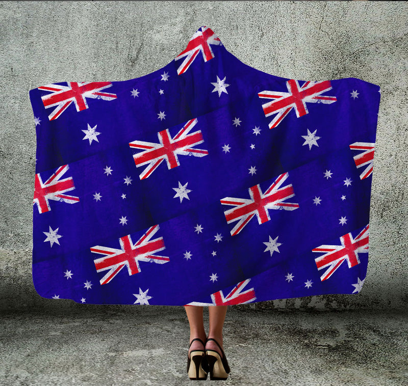 Australia Flag Tiled Hooded Blanket