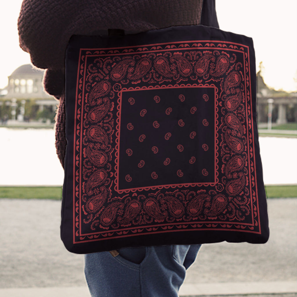 red and black bandana tote bags