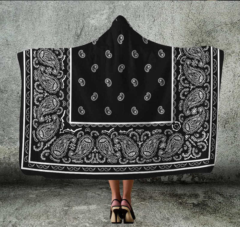 Black Bandana Hooded Blanket
