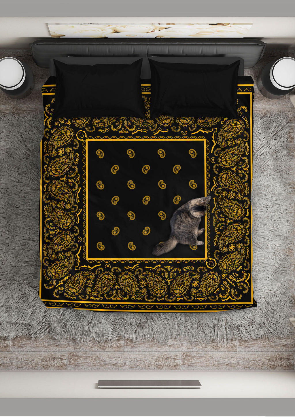 Black Gold Bandana Duvet Covet Set