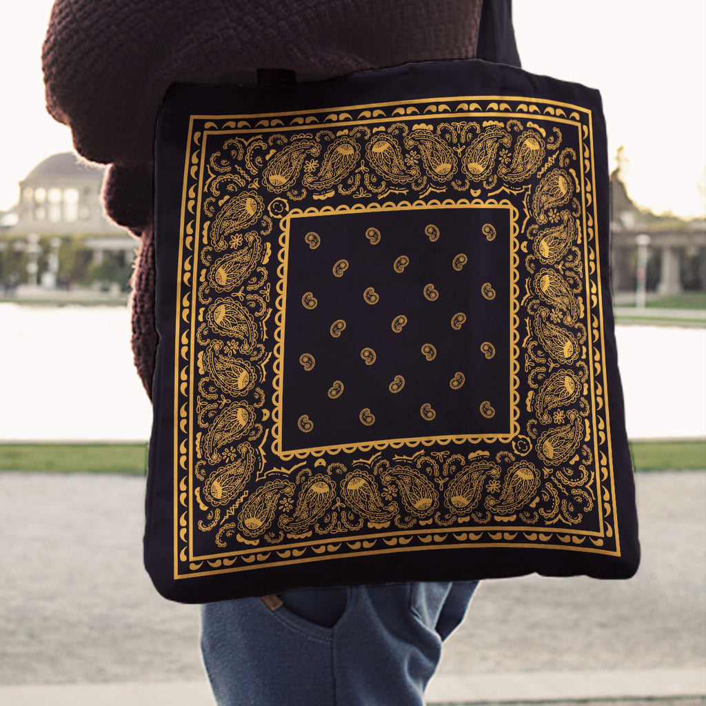 black and gold bandana tote bag