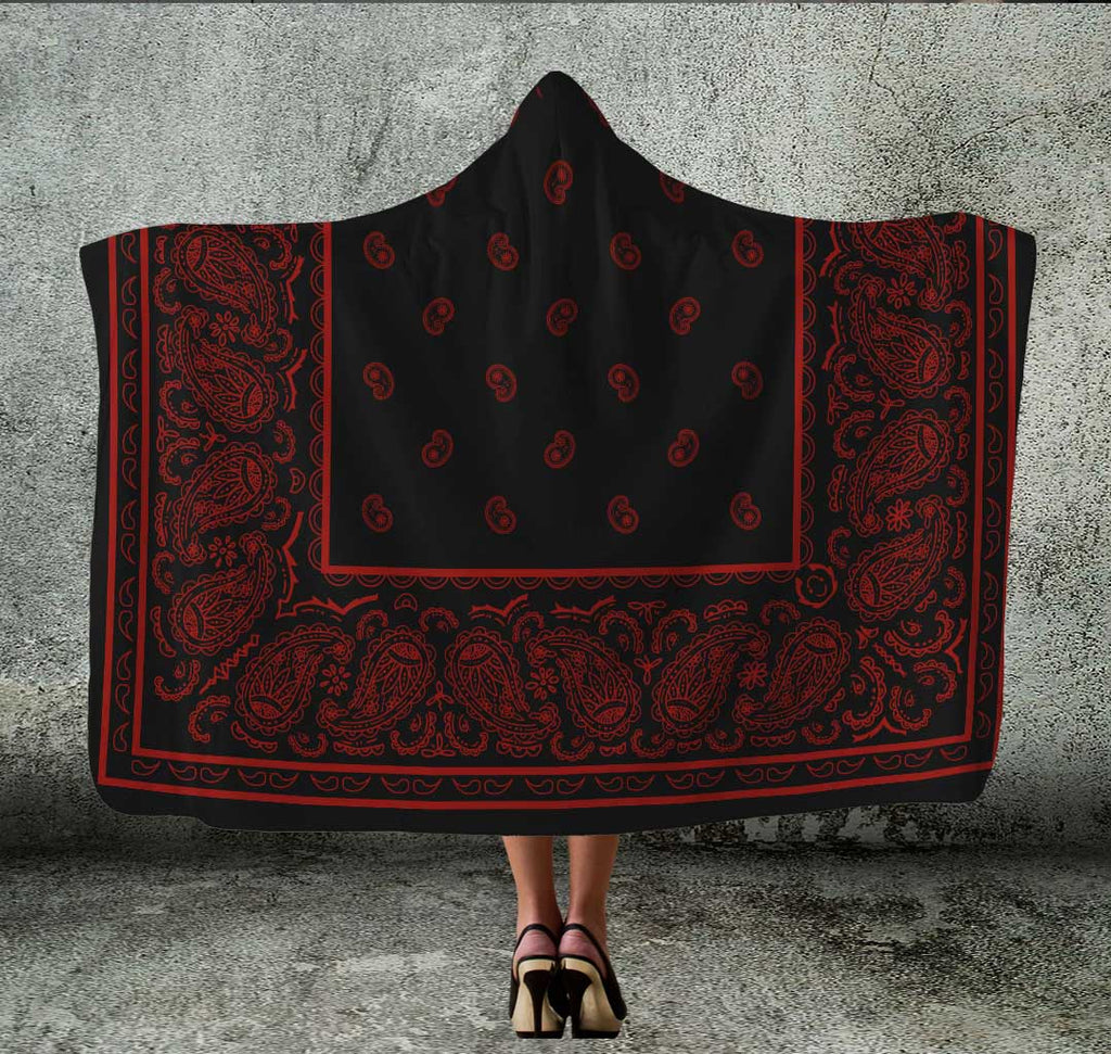 black with red hooded bandana blanket